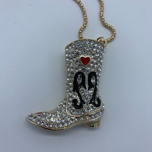 New crystal western shiny boot fashion necklace